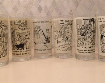 Vintage Mid-Century Set of 6 NAUGHTY RACY Novelty Drinking GLASSES 1950s in Perfect Condition