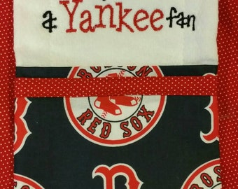 Embroidered Red Sox burp cloth