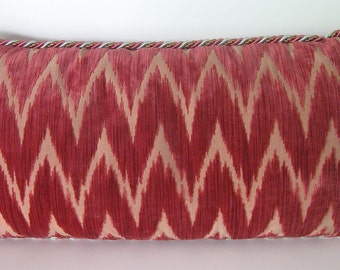 SALE Scalamandre Flame Cut Velvet Kidney Pillow/Down Filled