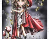Red Riding Hood Fairytale Black and white Digital Stamp