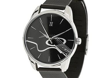 ZIZ Guitar Black Stainless Steel Watch / Guitar Wrist Watch / Stainless Steel Band / Unisex Watch / Women's Watches / Men's Watch / Gift