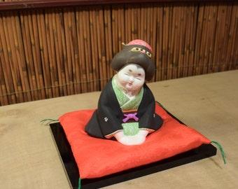 Vintage Japanese Ceramic Okimono Geisha at Tea Ceremony