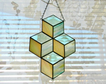 Stacked Boxes Stained Glass Suncatcher in Green and Cream