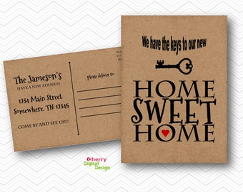 Kraft Moving Announcement | Home sweet Home Moving Card | Address Card | Skeleton Key Post Card | New Address Postcard