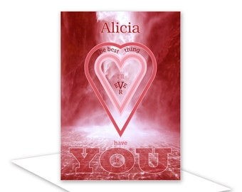 Personalised name romantic Valentine card - for husband or wife boyfriend girlfriend red waterfall hearts for him her inside message options