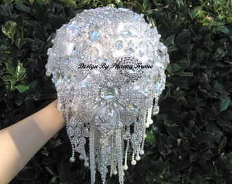 full price rich diamond bouquet, petal Flower Brooch Bouquet , winter style brooch bouquet, sale price bouquet, bridal brooch bouquet