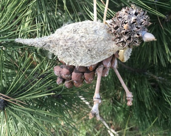 Natural Milkweed Pod Pinecone and Sweetgum Bird Ornament or Decoration