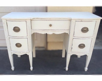 SAMPLE: White Distressed Shabby Chic Vintage Desk, Vanity, Custom Painted Real Wood - PORTFOLIO