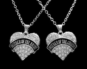 Wedding Gift, Crystal Mother Of The Bride Mother Of The Groom Necklace, Wedding Bridal Party Gift Charm Necklace Set