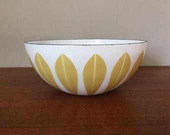 "Mid Century Cathrineholm 9.5"" Mustard Yellow Green Lotus Bowl"