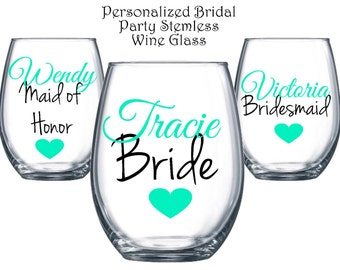 1 Stemless Wine Glass, Bridal Party Wine Glasses,Bridesmaid Wine Glass,Personalized Gift,Custom Glass,Monogrammed,Bride Glass,Christmas Gift