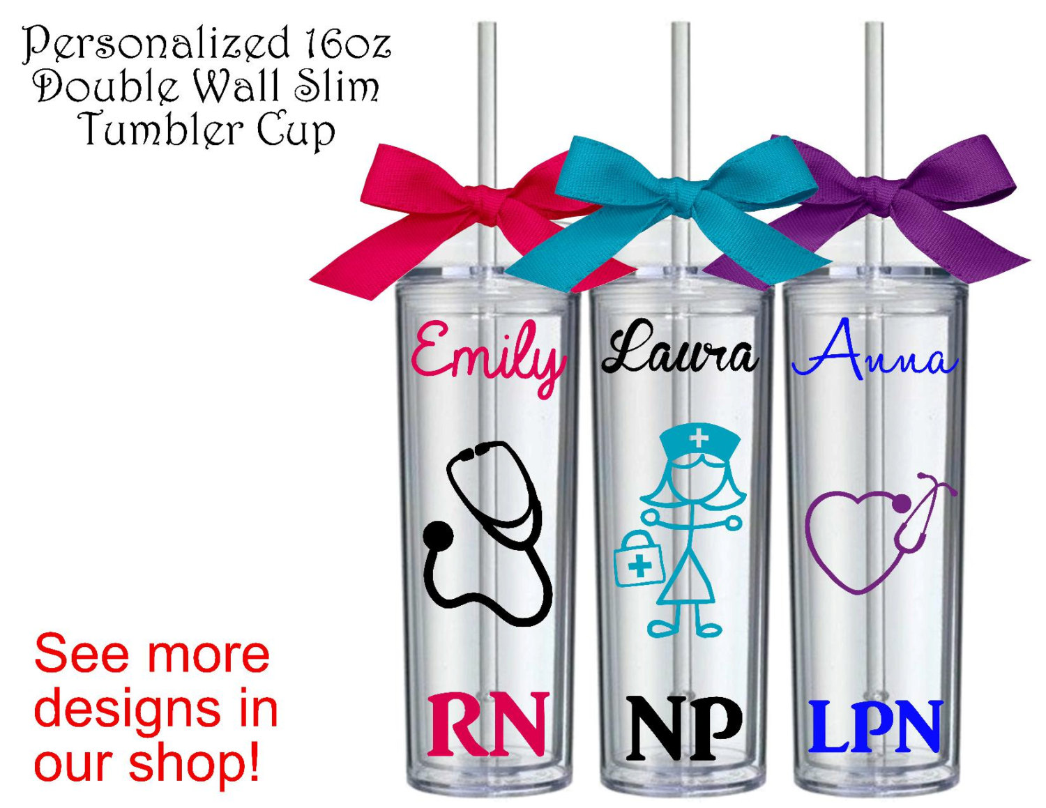 Personalized Nurse Slim Tumbler Cup RN Gift LPN Gift CNA Gift