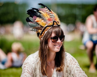 AMANTHICA - Handmade Bohemian Headdress, Feather Headpiece, Feather Headband, Ibiza, Burning man, Festival Accessories, Tribal, Native Ameri