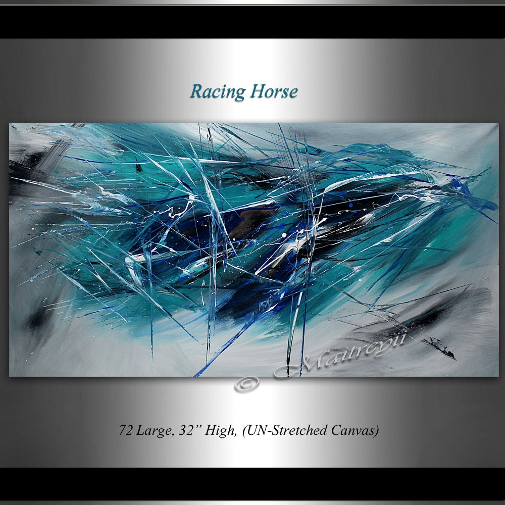 Abstract painting 72 teal and black abstract oil for Peinture bleu turquoise