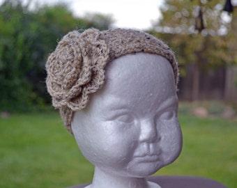 Children's Ear Warmer, Headband, Knitted Ear Warmer, Winter Headband, Cream Knitted Headband Ear Warmer.