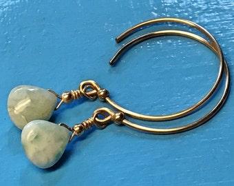 Blue larimar earrings. natural larimar, gold earrings, 14k gold filled, dominican republic, delicate earrings, larimar jewelry, hoop earring