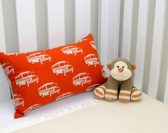 Little Dragon Rectangle School Bus Cushion in Orange and Natural Cover