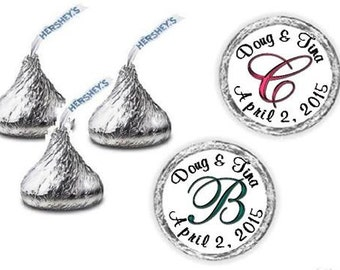 108 Monogram Wedding Hershey Kiss Candy Label Wrapper Favors Stickers ~ Choose your color