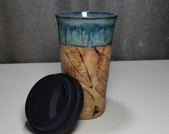IN STOCK** Stoneware Travel mug / Commuter mug with silicone lid - Coral Blue / leafs