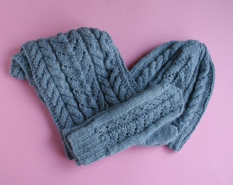 Hand knit winter set: Estonian mittens, Alpaca wool hat scarf, Gray winter set, Knit hat wrap,  Knit beanie and wrap, Hat scarf mittens set