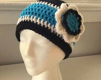 Hand Crocheted Carolina Panthers Inspired Woman's Flower Beanie Hat