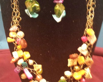 Crochet Wire Statement Necklace and earring set/ Multi color.
