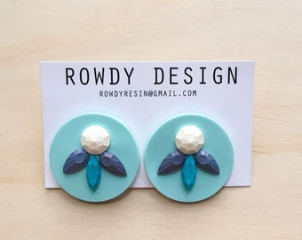 Round Disc Resin Swirl Stud Earrings - Teal with Purple, Blue and White
