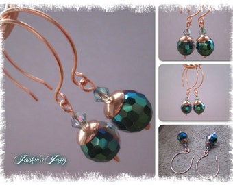 Crystal & Copper earrings.