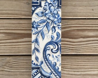 Chinoserie   Blue willow   chinoiserie art   blue chinoiserie   gallery wall art   home decor  handpainted canvas   canvas art   blue floral