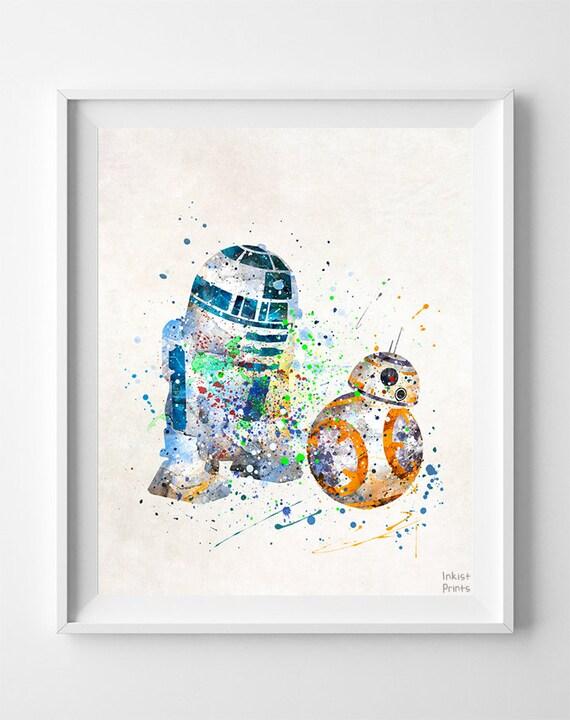 9119d8ed4 Star Wars Print, BB8 Art, R2D2 Poster, Watercolor Art, Room Decor ...