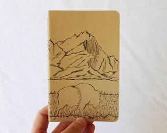 Bison Notebook, Hand Painted Buffalo Journal, Moleskine Pocket Sketchbook, Small Mountain Journal