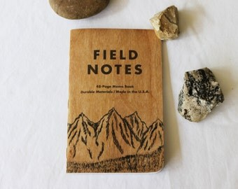 Field Notes Mountain Notebook,  Hand Painted Mountain Journal,  Pocket Moleskine Notebook, Gift for Him