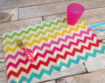 Travel Placemat Double Sided Baby Toddler Child Kid Laminated Cotton Handmade - Wipe Down Easy to Clean Store - Rainbow Chevron