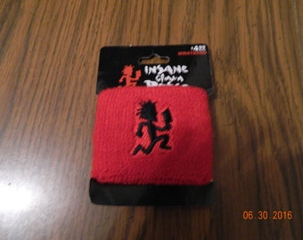 "New- Offically  Licensed ICP ""HATCHETMAN ""Red with Black hatchetman "" terrycloth wristband."
