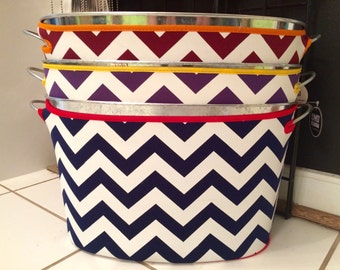 Personalized Chevron Beverage Bucket Cover With Drink Tub - Monogrammed Gift -15 Quart  Galvanized Tub