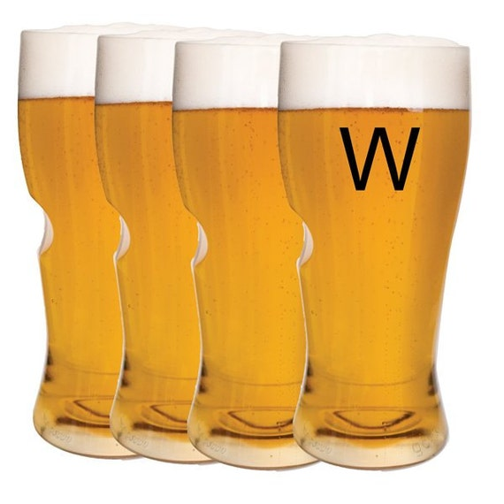 monogrammed acrylic beer glasses set of 4 single initial