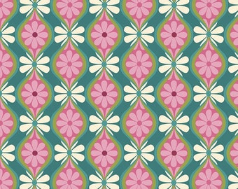 "Laminated Cotton Fabric - 60's Flower Power - Riley Blake Designs ""Botanique"" by Lila Tueller Designs, pattern L5083 Teal - Stripe"