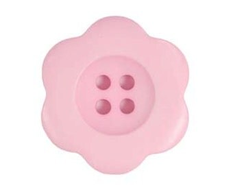 "Oversized Button  Pink Button 1.5"" Button - Riley Blake Designs Brand ""Sew Together"" Buttons 1.5"", Matte Flower Medium Pink"