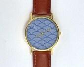 Traditional Wave Pattern Watch, Ladies Watch, Men's Watch, Hokusai, Japanese Wave Watch, Unisex, Novelty, Analog, Gift Idea
