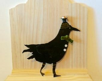 Reclaimed metal crow  art- folk art crow - metal crow - metal decor - crow decor - halloween decor - floras adoras -  mixed media crow