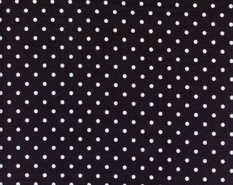 Small Black Polka Dot Timeless Treasures Cotton Fabric C1820 White, By the Yard
