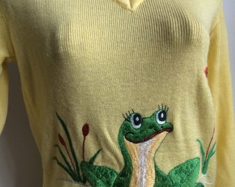 Vintage embroidered fun frog sweater 70's
