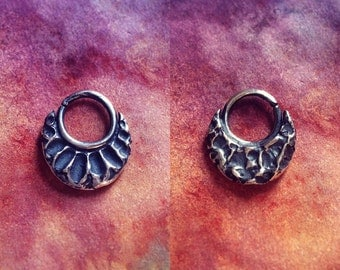 Textured double sided reversible sterling silver septum ring 16g