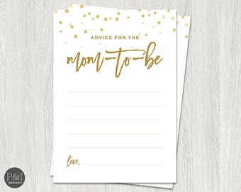 Advice for Mom-to-Be   Gold Baby Shower Downloads and Games   Instant Download (5x7)