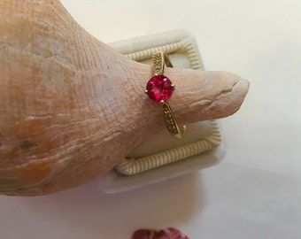 Ruby Ring Solitaire Brilliant Cut Bright Pink Gem in Yellow Gold With Accent Diamonds, Millgrain, Pring Set