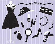 Fashion Clipart Clip Art Silhouette Woman Fashion Clipart Dress Accessories Clipart - Personal and Commercial Use