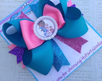 Doc Mcstuffins Bow, Doc Mcstuffins headband, Blue and Pink birthday Bow,Girls HairBows, Costume Bow.