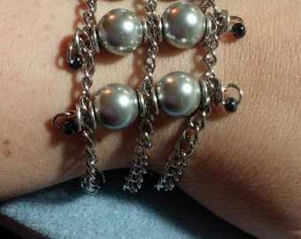Silver Pearl and Chain Bracelet