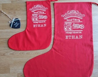 Personalised  Stocking - Christmas Eve - Christmas Tradition - Xmas Stocking - Add you Child's name - Christmas stocking