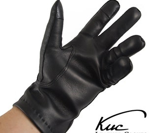Men's touchscreen leather gloves - fine soft Italian nappa lamb leather - warm men's winter gloves, cashmere lined gloves.